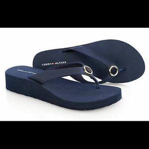 Tommy Hilfiger Platform Sandals Navy Blue Size 8